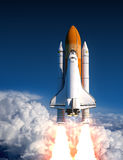 Space Shuttle Launch In The Clouds. 3D Illustration Stock Images
