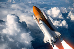 Space Shuttle Launch In The Clouds. 3D Scene vector illustration