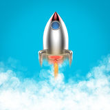 Space shuttle launch. 3d rendering space shuttle launch with smoke stock illustration