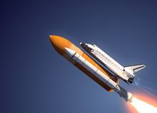 Space Shuttle Launch. Space Shuttle Over Blue Background. 3D Scene stock illustration