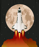 Space shuttle launch. Over grunge moon background vector illustration