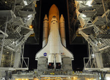 Space Shuttle at launch pad. The Space Shuttle sitting on the launching pad at Kennedy Space Center Stock Photography