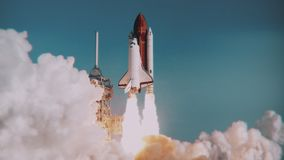 Space Shuttle launch in slow motion. NASA logo removed. Elements furnished by NASA. Broadcast quality animation rendered at 16-bit color depth. 4K UHD stock footage