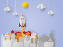 Space shuttle launch to the sky, start up business concept. Vector illustration, paper art style vector illustration