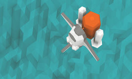 Space Shuttle launch top view see ocean in background Low-poly Stock Image