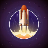 Space Shuttle Launch. Vector illustration with spaceship and space background Stock Photo
