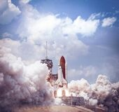 Space shuttle launches from spaceport