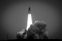 Space Shuttle launching. Black and white view of launching Space Shuttle Endeavor flight STS-134, Cape Canaveral, U.S.A Stock Photos