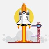 Space shuttle launching - Illustration Stock Photos
