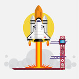 Space Shuttle Launching -. Illustration vector illustration