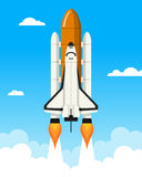 Space Shuttle Launching Ramp. A space shuttle takes off from the launching ramp to explore the universe, on a blue sky background with clouds. Eps file available Stock Images
