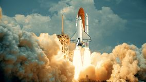 Space Shuttle launching in slow motion. Elements of this video furnished by NASA.