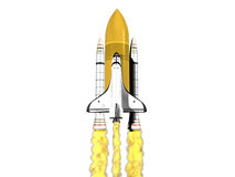 Space shuttle launching on white background Stock Images