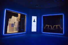 Space shuttle memorial. A display at Kennedy Space Center with a piece of the space shuttle Challenger (left) and the window frame of the space shuttle Columbia Stock Photography