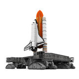 Space Shuttle and Mobile Launcher Platform. Isolated on white background. 3D render Royalty Free Stock Images