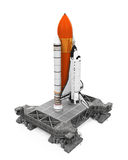 Space Shuttle and Mobile Launcher Platform. Isolated on white background. 3D render stock illustration