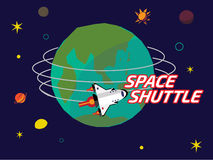 Space shuttle orbit around the earth Stock Image