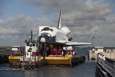 Space shuttle orbiter Explorer. Space shuttle orbiter replica of Explorer travelling on barge through port Canaveral heading to the Space Center in Houston Royalty Free Stock Photography