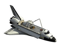 Space Shuttle Orbiter On White Background. 3D Illustration stock illustration