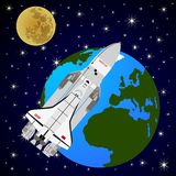 Space shuttle orbiting the Earth-1 Stock Photo