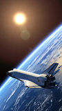 Space Shuttle Orbiting Earth. 3D Scene vector illustration