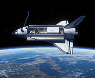 Space Shuttle Orbiting Earth. 3D Scene royalty free illustration