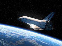 Space Shuttle Orbiting Earth. Realistic 3D Scene Stock Image