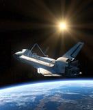 Space Shuttle Orbiting Earth. Realistic 3D Scene vector illustration