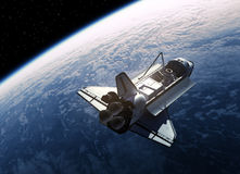 Space Shuttle Orbiting Earth Stock Photo