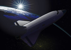 Space shuttle orbiting the Earth at sunrise. Photorealistic illustration. Space shuttle orbiting the Earth at sunrise stock illustration
