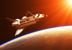 Space Shuttle In The Rays Of Rising Sun. 3D Illustration royalty free illustration
