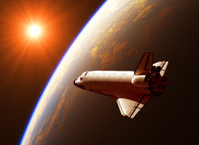 Space Shuttle In The Rays Of Sun. 3D Illustration royalty free illustration