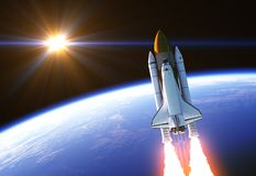 Space Shuttle In The Rays Of Sun. 3D Illustration stock illustration