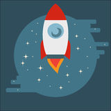 Space Shuttle Rocket in circle in flat style Stock Photography