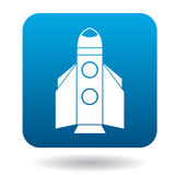 Space shuttle rocket launch icon, flat style. Space shuttle rocket launch icon in flat style on a white background Royalty Free Stock Image