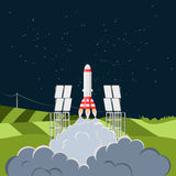 Space shuttle rocket launch from spaceport. Flat illustration stock illustration