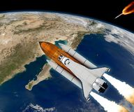 Space Shuttle Rocket Spaceship. Space shuttle rocket launch Earth spaceship background. Elements of this image furnished by NASA vector illustration