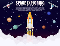 Space shuttle ship rocket launch exploring and research. Space ship rocket launch exploring and research with realistic satellite and planets concept. Business royalty free illustration