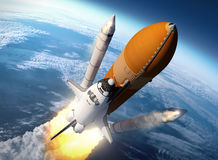 Space Shuttle Solid Rocket Boosters Separation. 3D Scene Stock Images