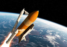 Space Shuttle Solid Rocket Boosters Separation. 3D Scene royalty free illustration