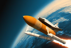 Space Shuttle Solid Rocket Boosters Separation In Stratosphere. 3D Scene Stock Photo
