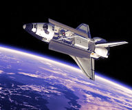 Space Shuttle in Space. 3D Scene Royalty Free Stock Photo