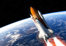 Space Shuttle In Space. Realistic 3D Scene Stock Photo