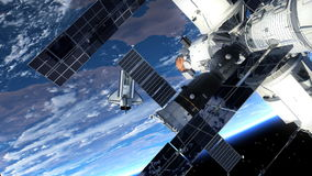 Space Shuttle And Space Station Orbiting Earth. 3D Animation royalty free illustration