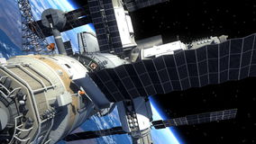 Space Shuttle And Space Station Orbiting Earth vector illustration