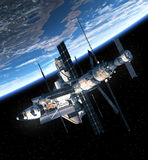 Space Shuttle And Space Station Orbiting Earth. 3D Scene royalty free illustration