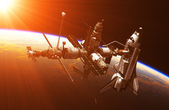 Space Shuttle And Space Station In The Rays Of Sun. 3D Illustration royalty free illustration