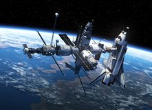 Space Shuttle And Space Station In Space. 3D Scene Royalty Free Stock Photos