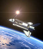 Space Shuttle And Sun. Realistic 3D Scene vector illustration