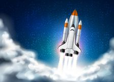 Vector spacecraft shuttle takeoff realistic 3d. Space shuttle takeoff with fire from engines on night star sky with clouds background. Realistic rocket launch vector illustration